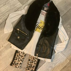 Juicy Couture 2t faux fur faux leather leopard set